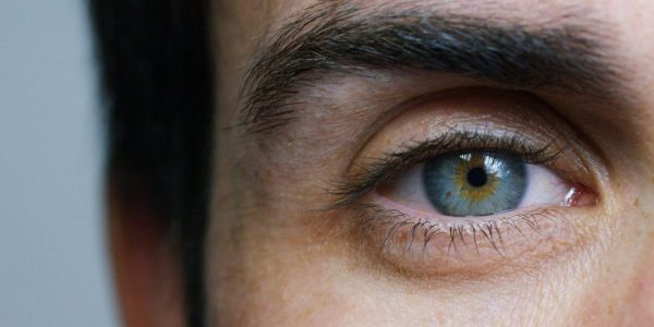 closeup of a man's left eye